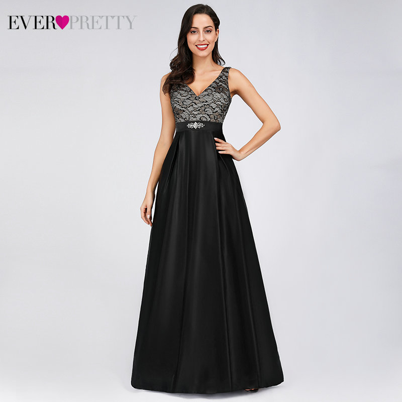 Ever Pretty Black Evening Dresses Long A-Line Double V-Neck Beaded Sleeveless Elegant Lace Evening Party Gowns Robe De Soiree