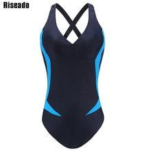 Riseado Sport One Piece Swimsuit 2019 Swimming Suits for Women Patchwork Swimwear Cross Bandage Bathing