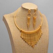 Bridal Dubai Gold Color Jewelry Sets Necklace Bracelet Nigerian Wedding Party Women Fashion Jewelry Set
