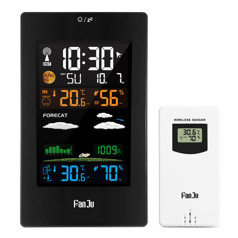 FanJu FJ3389 EU Plug Table Desk Clock Weather Station Digital Thermometer Hygrometer Wireless Sensor LCD Calendar Display