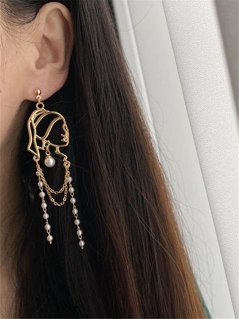 S925 Needle Pearl Long Tassel Abstract Lines Girl Portrait Earrings Hyperbole Personality Dangle Earrings Women Jewelry 2