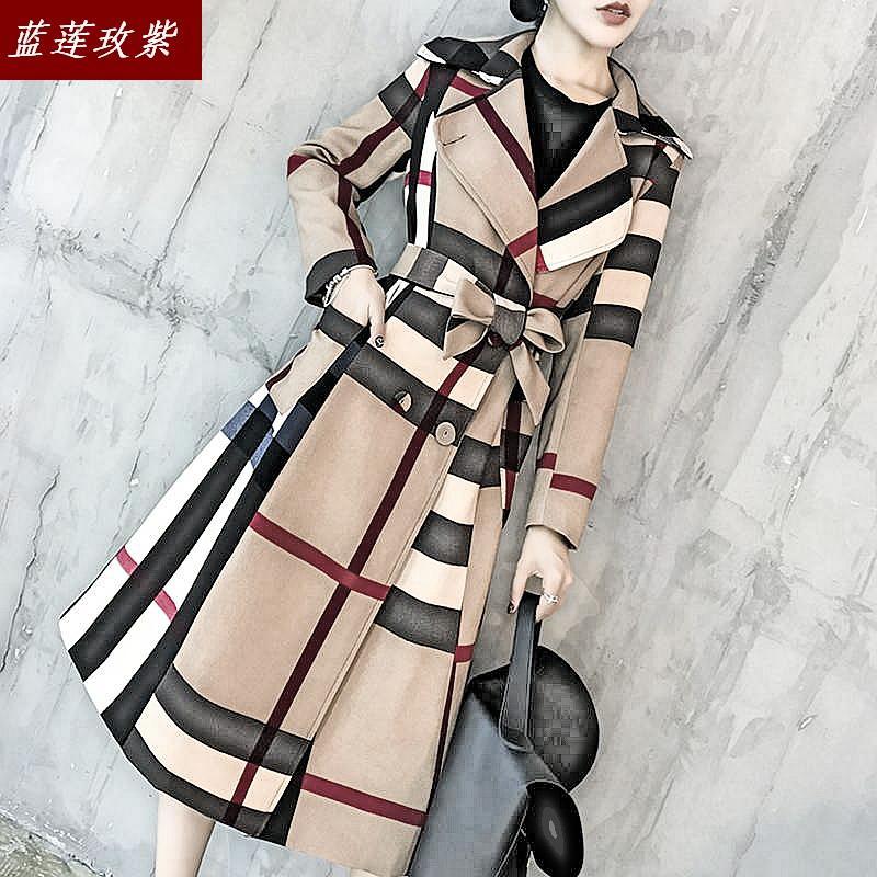 Women's 2019 New Autumn Temperament Windbreak Coats Lady's Fashion Slim Plaid Long Sleeve Medium-length Trench Female Coat