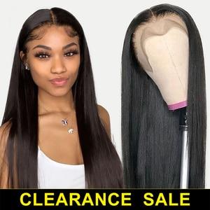 13x4 perruques avant en dentelle Remy cheveux raides vraies perruques de cheveux humains pour les femmes noires préplumées cheveux brésiliens perruques frontales près de chez moi