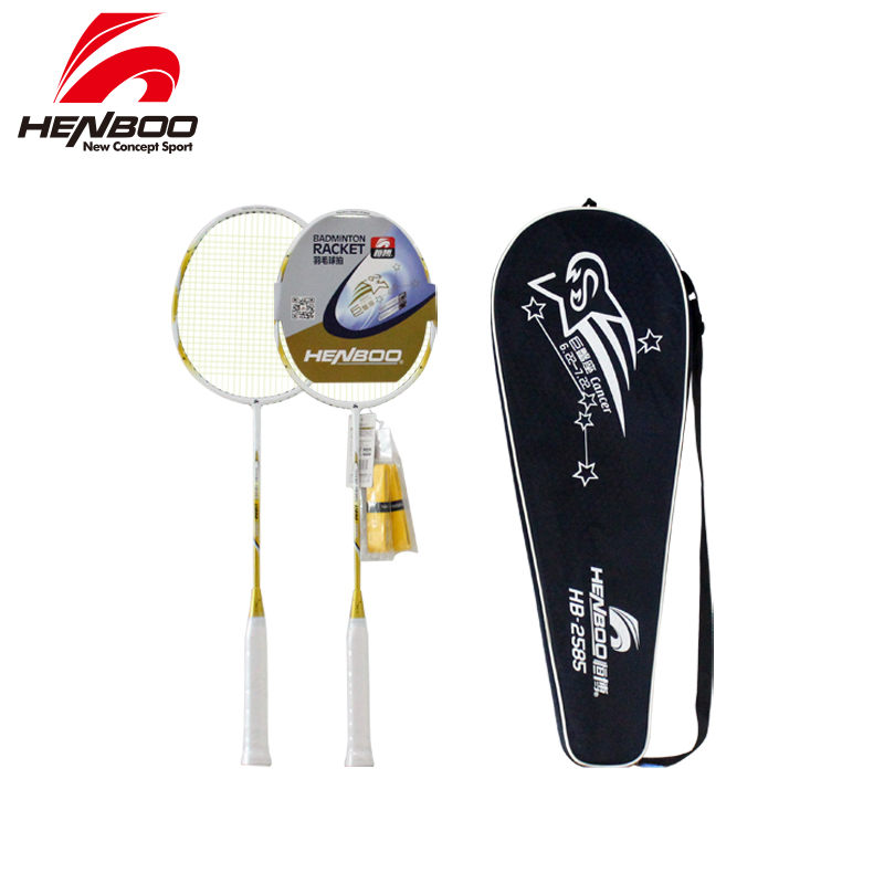 HENBOO Durable Lightweight Badminton Set Durable Iron Alloy Training Badminton Racket And Tote Bag Sports Equipment Standard Use