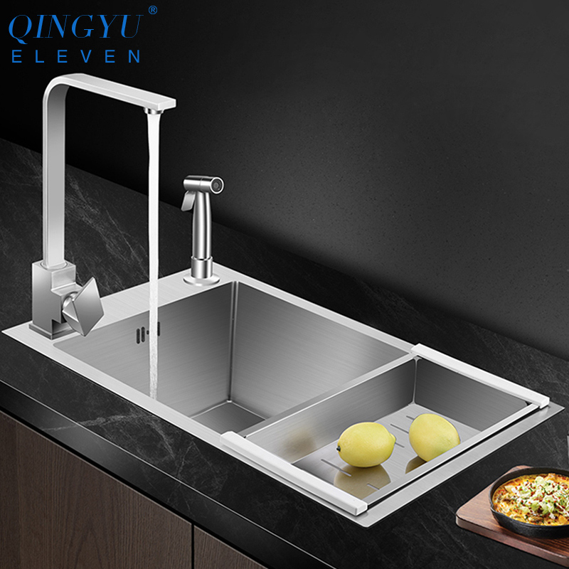 QINGYU ELEVEN Horizontal Kitchen Sink High Quality 304 Stainless Steel Dish Sink Large Size Single Bar Counter Kitchen Sink