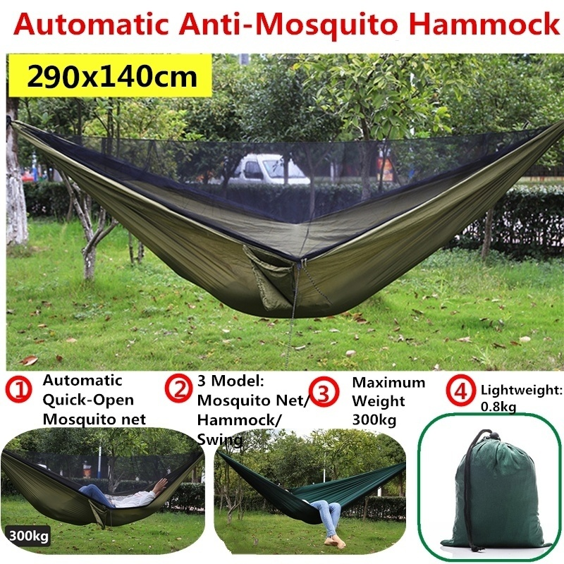 290x140cm Automatic Quick Open Anti Mosquito Hammock Outdoor Single Double Hammock with Mosquito Net Outdoor Recreation Hammock - title=