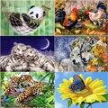 Алмазная живопись 5D «волк», панда, львы, Петух и цветы, бабочка», вышивка крестиком стразы, квадратная или круглая Алмазная Декорация
