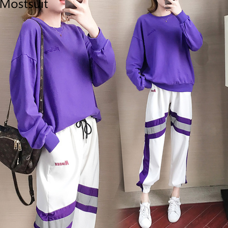Autumn Winter Purple Two Piece Sets Women Long Sleeve Sweatshirt And Pants Suits Casual Fashion Korean Bf Style 2 Piece Sets 31