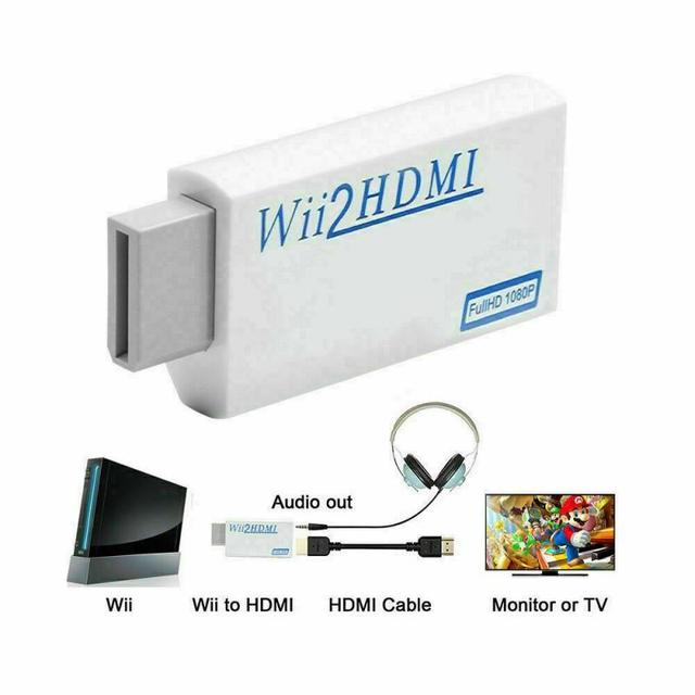 Wii To HDMI 1080P Full HD Adapter Wii 2HDMI Converters 3.5mm Audio Aux Adapters Accessories For PC HDTV Monitor Display TXTB1