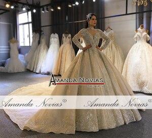 Image 4 - Amanda Novias 2020 brand gold wedding dress real work high quality dubai wedding dresses not with veil