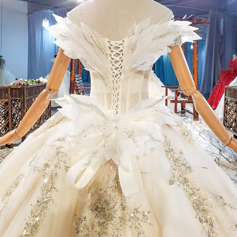 HTL1818 Sequined Beading Wedding Dress 2020 Short Sleeve Applique Ball Gowns Boat Neck Lace Up Back Off The Shoulder 6