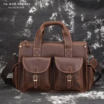 Vintage Crazy Horse Genuine Leather Men Briefcase for 14 Inch Laptop Purse Male Shoulder Crossbody Bag Office Business Handbag цена 2017