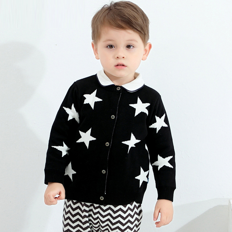 Boys Cardigan Cotton Round Neck Black Coat Baby Spring and Autumn Trendy Warm Children Clothes Casual Sweater Kids Knitwear