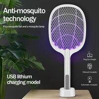 Dispositivo eléctrico antimosquitos con lámpara UV recargable por USB, trampa matamoscas e insectos con forma de raqueta, para el hogar, 2500V, batería de 1200 mAh, para verano