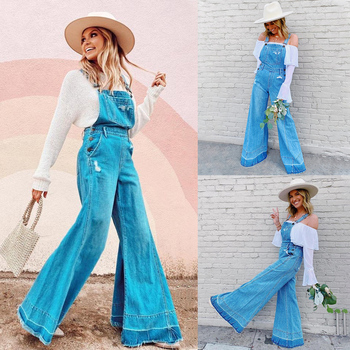 Fashion Retro Women Wide Leg Flare Denim Jumpsuit Women High Waist Overalls Trousers Ladies Casual Sleeveless Jeans Playsuit viianles new women casual wide leg jumpsuit fashion ladies summer cotton loose playsuit bodycon party trousers jumpsuit