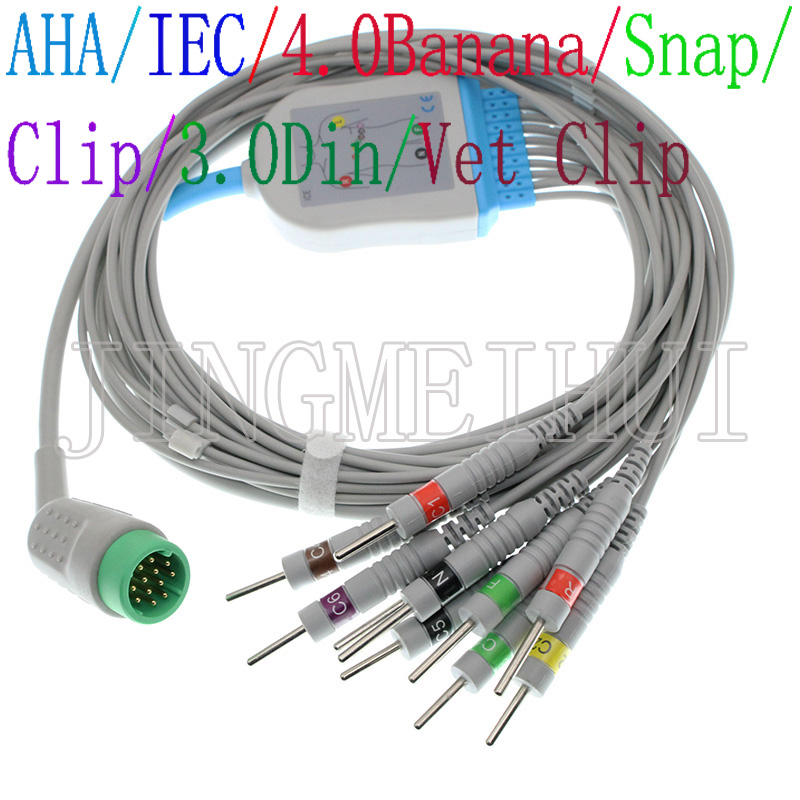 Compatible 12 PIN MEDTRONIC PHYSIO CONTROL Lifepak 12 ECG EKG 10 Leads cable,3.0DIN/4.0Banana/Snap/Clip/Animal Vet leadwire.