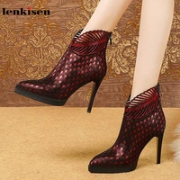 Lenkisen new soft sheep suede shiny crystal studded pointed toe stiletto high heels Zip winter keep warm women ankle boots L96
