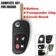 Flip 4 botões de controle remoto chave do carro da aleta chave 2002-2008 433mhz 4d60 chip para jaguar x-type s-tipo 1999-2009 xj xjr sem corte lâmina