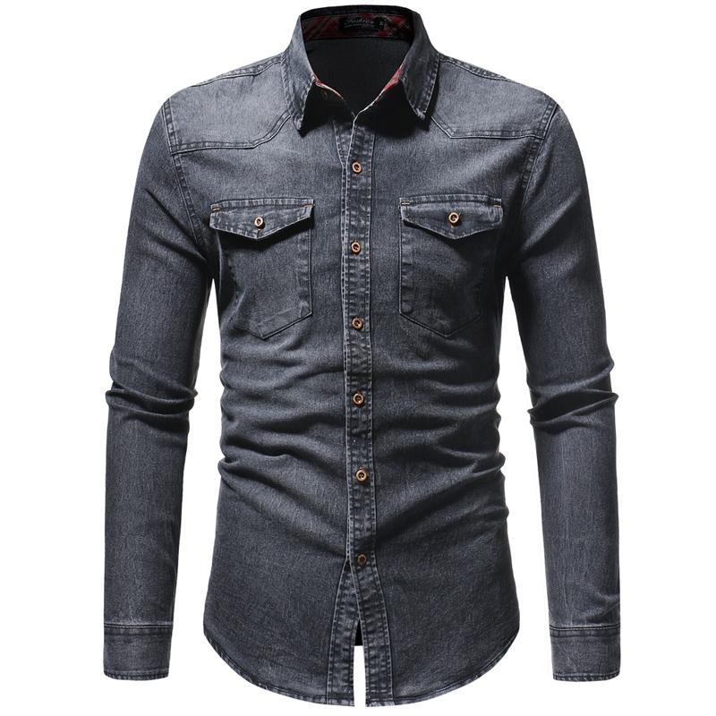 Jeans Shirt For Men Long Sleeve Lined Plaid Denim Shirt Men's Casual Slim Leisure Blouse Man Gray Blue Black New