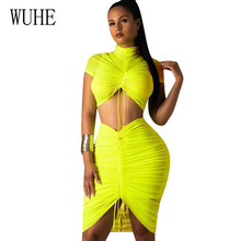 WUHE Folds Drawstring Half-neck Fashion Casual Slim Dress Elegant Two Pieces Sets Short Sleeve Hollow Out Pleated Bodycon