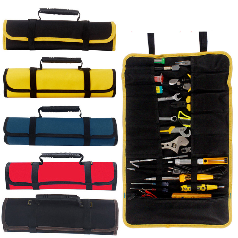 Quick-pick Work Waist Bag Tool Bag For Electrician Contractor Handware Tool Storage Bags Oxford Canvas Chisel Roll Bags For Tool