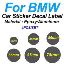 4 pces para bmw epóxi/alumínio 29mm 45mm 56mm 65mm 67mm 78mm tampa da roda do carro etiqueta etiqueta da direção decalque emblema cobre o logotipo