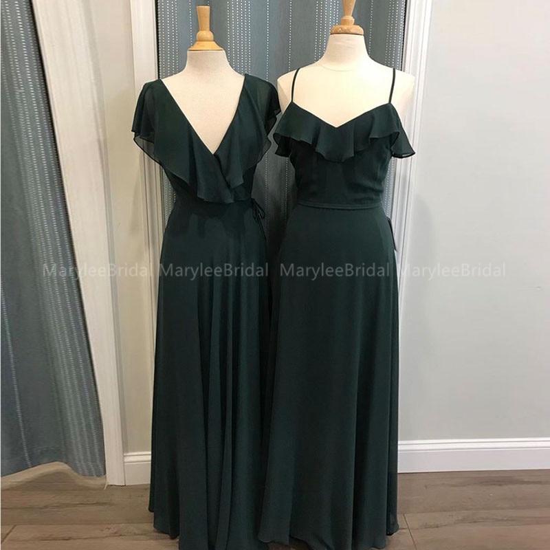 V Neck Ruffles Neckline Long Simple Bridesmaids Dresses Dark Navy Chiffon Summer Wedding Guest Plus Size Maid Of Honor Dresses