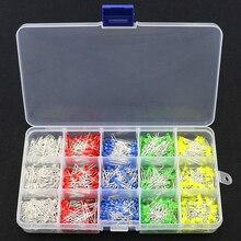 750 pçs/caixa 3mm diodo led amarelo vermelho azul verde branco variedade luz kit diy