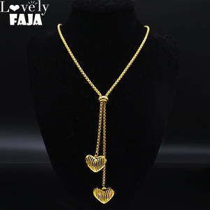 Fashion Stainless Steel Heart Necklace for Women Gold Color Long Necklace Jewelry acero