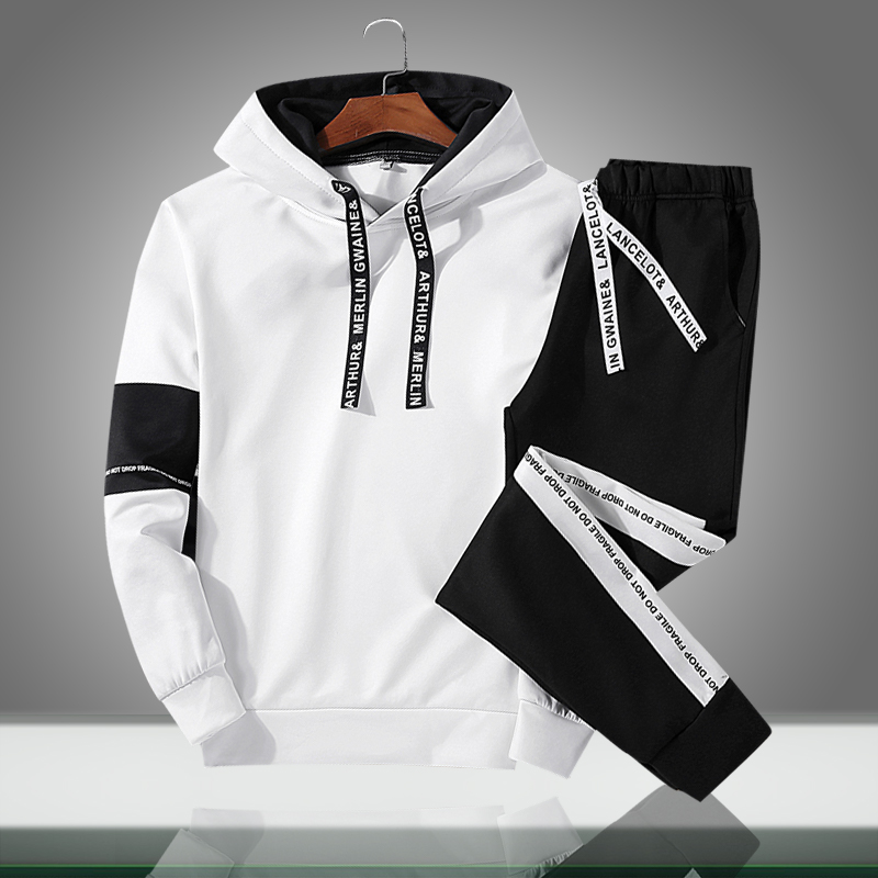 2019 Men Sets New Casual Solid Patchwork Male Hooded Tracksuits Spring Summer Men's Sportswear Hoodies+Pants 2PCS Sporting Suits