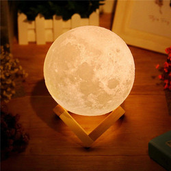 Перезаряжаемый светодиодный ночник, сенсорный 3D лунный светильник, 2 цвета, 3D для спальни, украшение, подарок на день рождения 2020129
