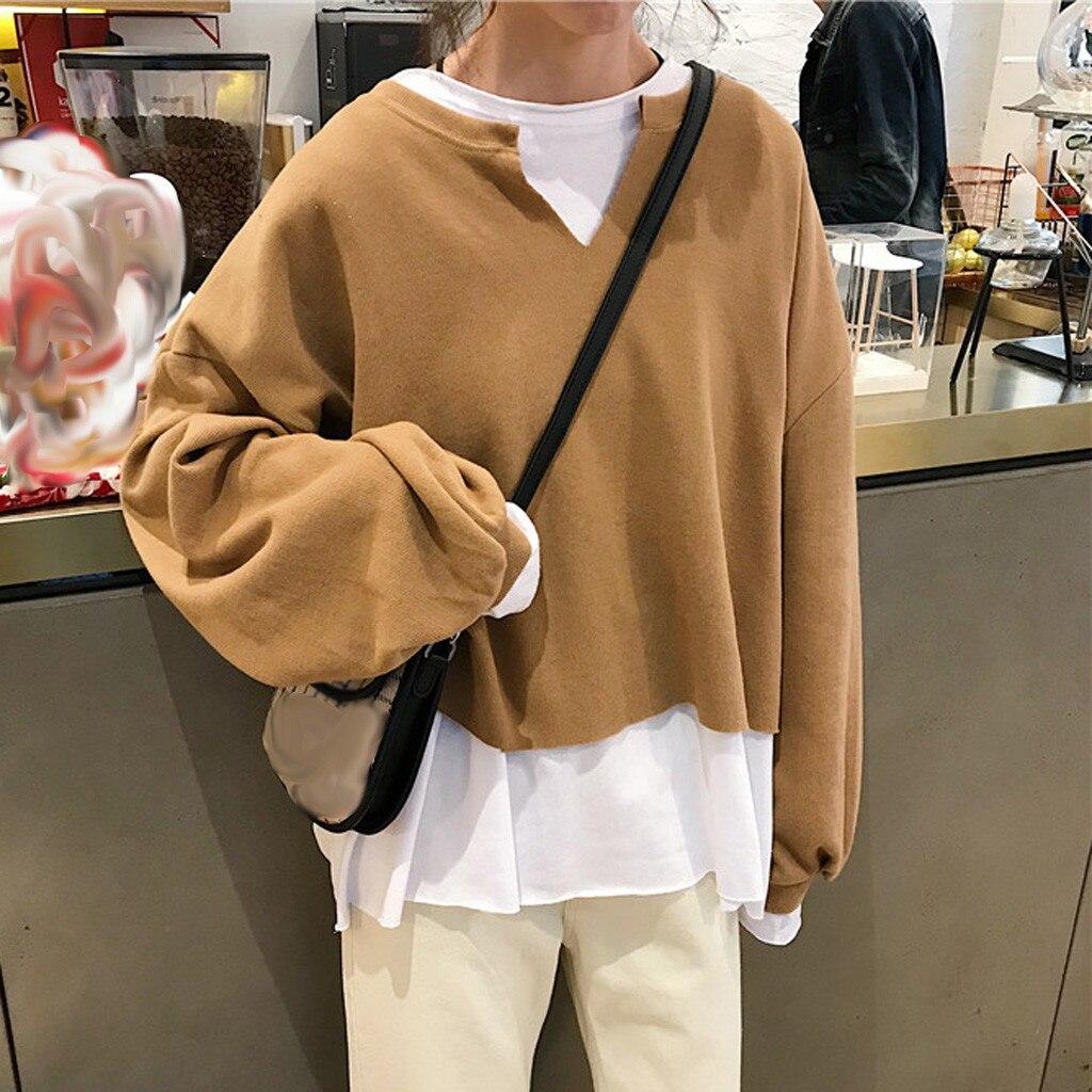 Feitong Patchwork  Sweatshirt Womens Autumn Fake Two Pieces Loose Splice Long Sleeve Streetwear Women Pullover Sweatshirt Tops
