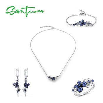 цена SANTUZZA Silver Jewelry Set for Women Pure 925 Sterling Silver Blue Butterfly Earrings Ring Bracelet Necklace Set Fine Jewelry онлайн в 2017 году