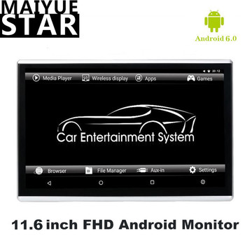 11,6-zoll Android 6.0 Auto Kopfstütze Monitor HD 1080P Video Touch Screen WIFI/Bluetooth/USB/SD /HDMI/FM MP5 Video Player