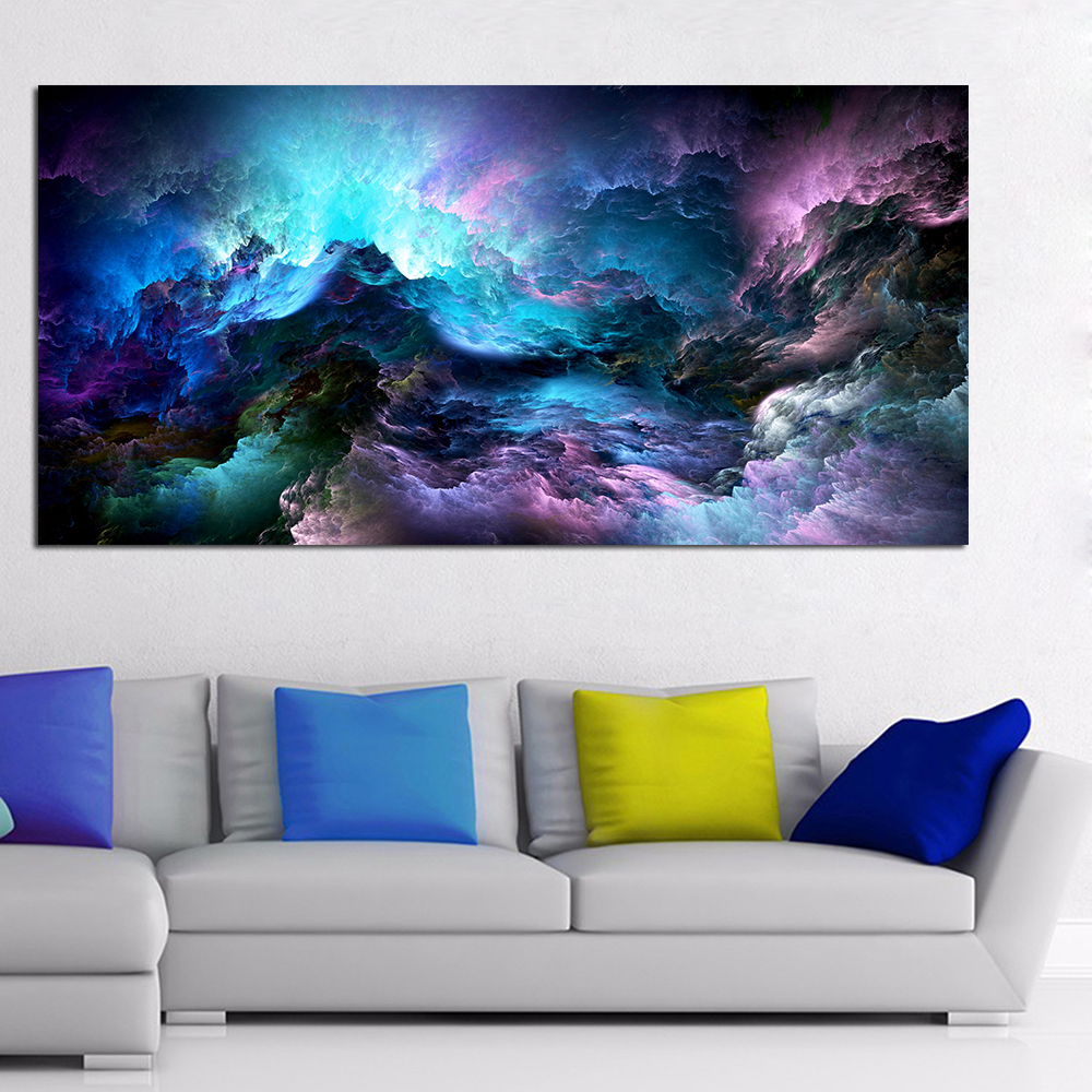 DDHH Large Size Wall Art Prints Cloud Abstract Colorful Oil Painting Wall Decor Blue Painting for Print Wall Picture no frame
