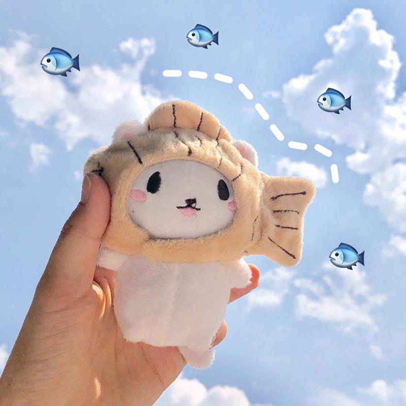 1Pc Cute Creative Plush Toys Cartoon Cat Kitten with Fish Cap Soft Stuffed Doll Keychain Keyring Bags Pendant Plush Doll Gift