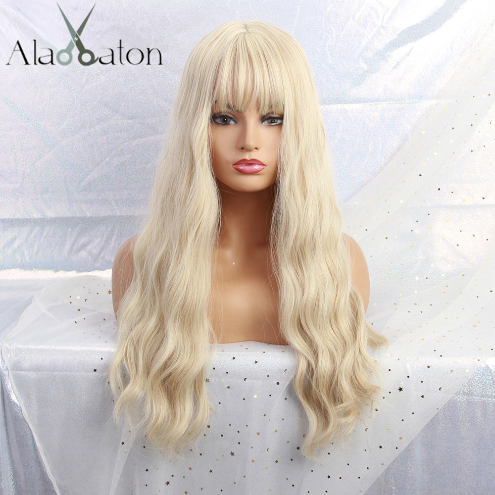 ALAN EATON Long Light Blonde Wigs With Bangs Heat Resistant Synthetic Wavy Wigs For Women African American Fashion Hairs Peruca