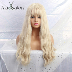 ALAN EATON Long Light Blonde Wigs with Bangs Heat Resistant Synthetic Wavy Wigs for Women African American fashion hairs Peruca(China)