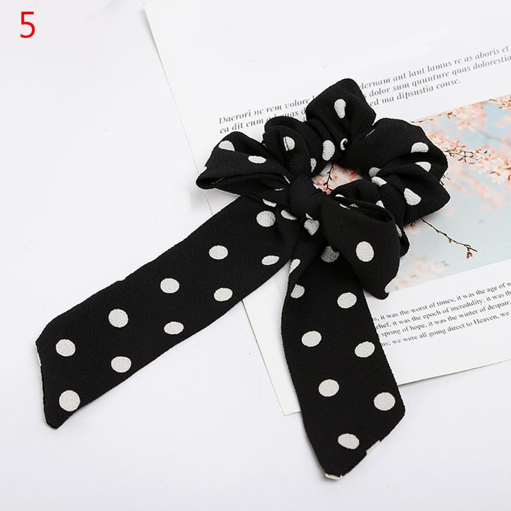 Femmes banderoles chouchous à pois imprimé Floral élastique noeud cheveux corde fille cheveux cravates coréen doux cheveux accessoires chapeaux 48