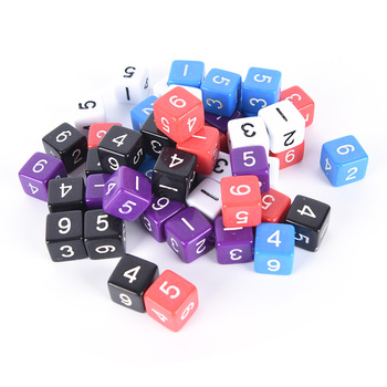 10PCS D6 Drink Digital Dice Set for Funny Party Club Pub Board Playing Game Accessory 5 Colors 16mm image