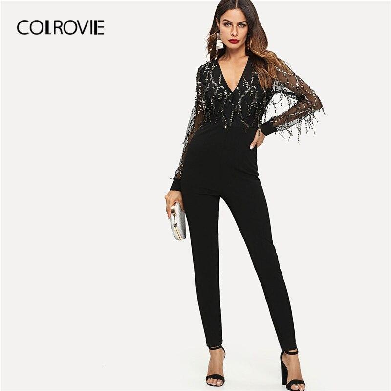 COLROVIE Black Sequin Detail Mesh Sleeve Jumpsuit Skinny Black Long Sleeve V Neck Jumpsuits Women 2019 High Waist Long Jumpsuits