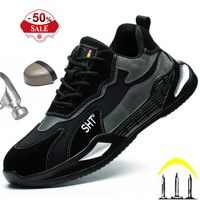 Botas de seguridad transpirables con punta de acero para hombre, calzado de trabajo antigolpes de cuero, zapatillas deportivas ligeras para exteriores