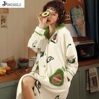 JRMISSLI Lady New Coral Velvet Sleepwear Girls Winter Warm Sleepdress Ladies Flange Nightgown Clothing Female Flannel Sleepwear