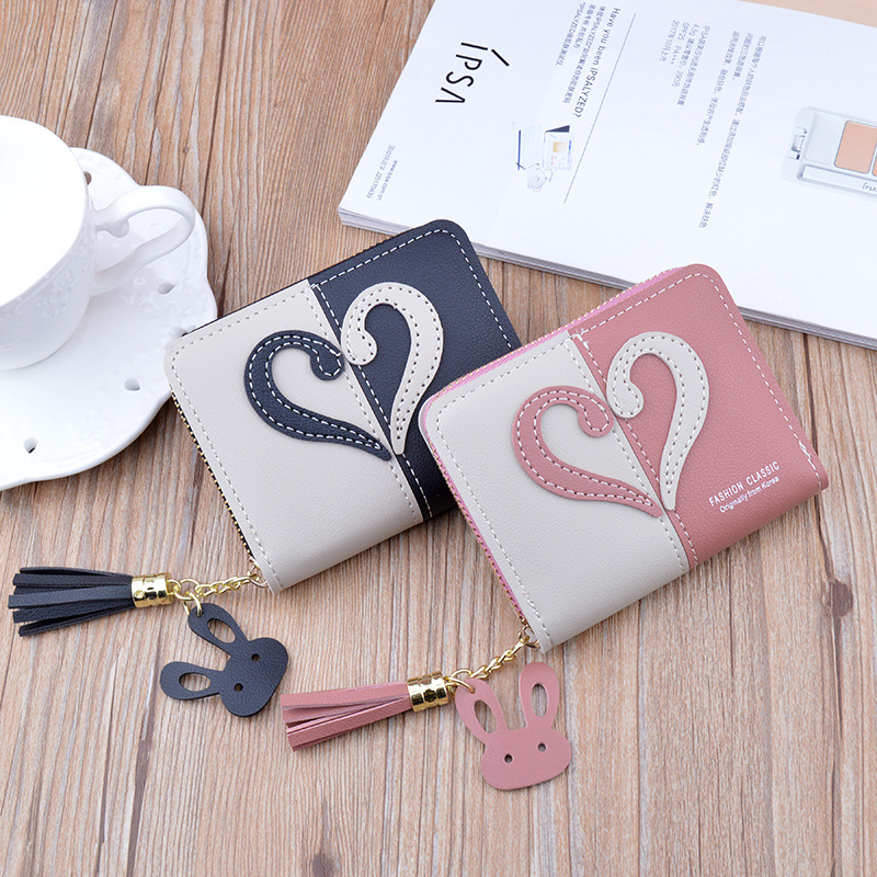 Women Wallet Short Pu Leather Wallet Ladies Zippers Purse Patchwork Fashion Panelled Wallets Trendy Coin Purse Card Holder