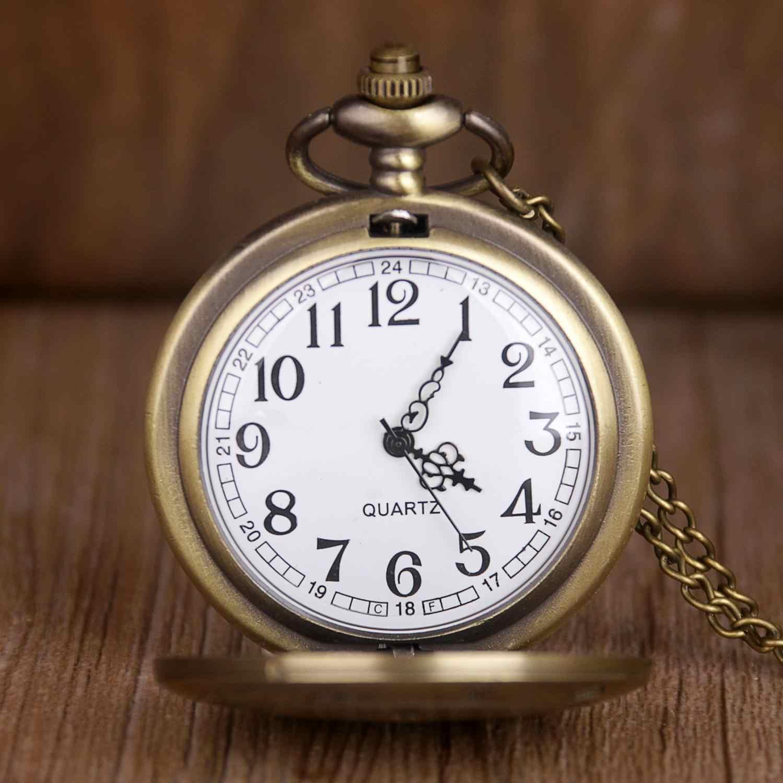 新ヴィンテージブロンズ法案暗号重力落下クォーツ懐中時計アナログペンダントユニセックス腕時計 fob チェーン CF1034