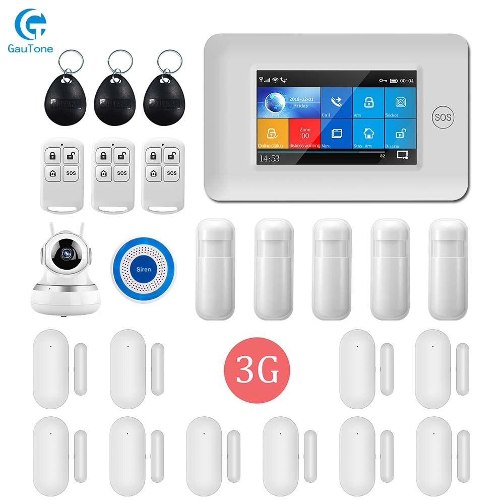 DHL Frete Grátis Controle Remoto APLICATIVO 3G GPRS WI-FI Sem Fio Em Casa/Edifício de Escritório Sistema de Alarme de Segurança Com 1080P Câmera IP HD
