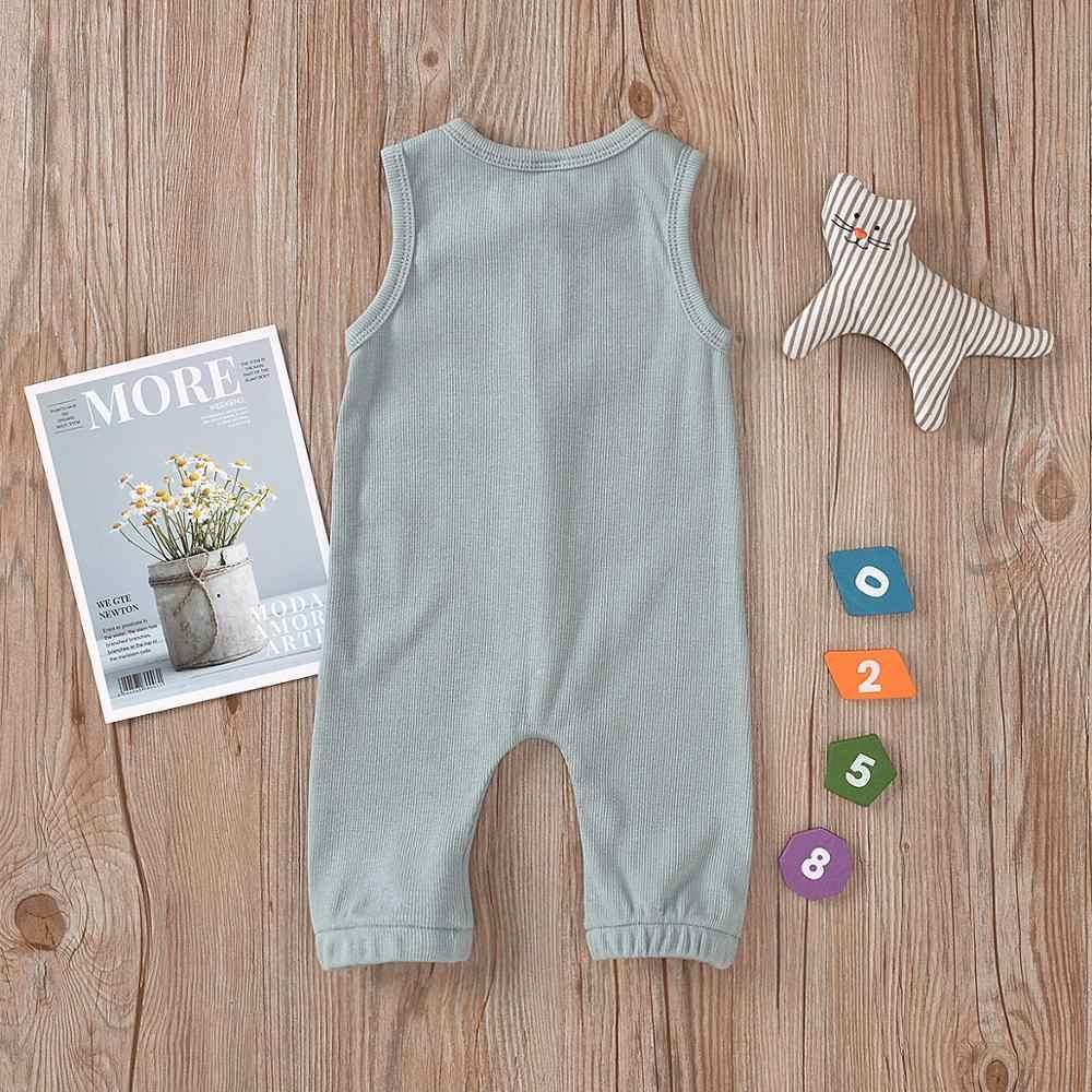 Caaual pamuk yenidoğan örgü nervürlü erkek bebek giysileri kolsuz Romper kıyafet katı 3 renk yaz çocuklar için bez