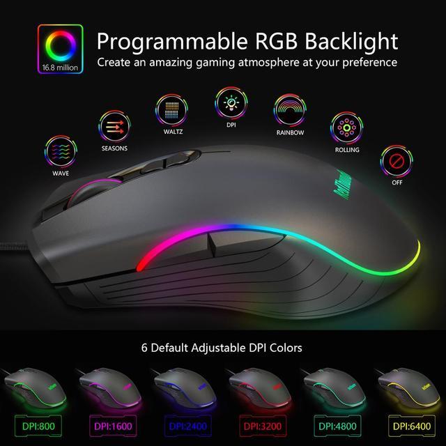 RedThunder One-Handed Gaming Keyboard RGB Backlit 6400dpi Macro Programming Mouse Combos,Portable Mini Keypad for Laptop PC 6