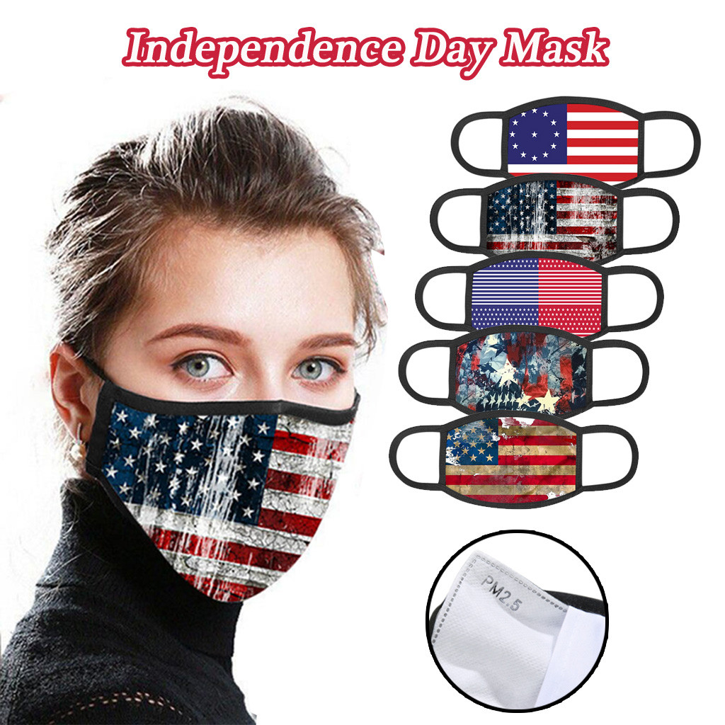 Flag Print Face Mask Dustproof Masks Adult Cotton Protective Foggy Haze Windproof Mouth Mask Washable Reusable Mouth Face Mask
