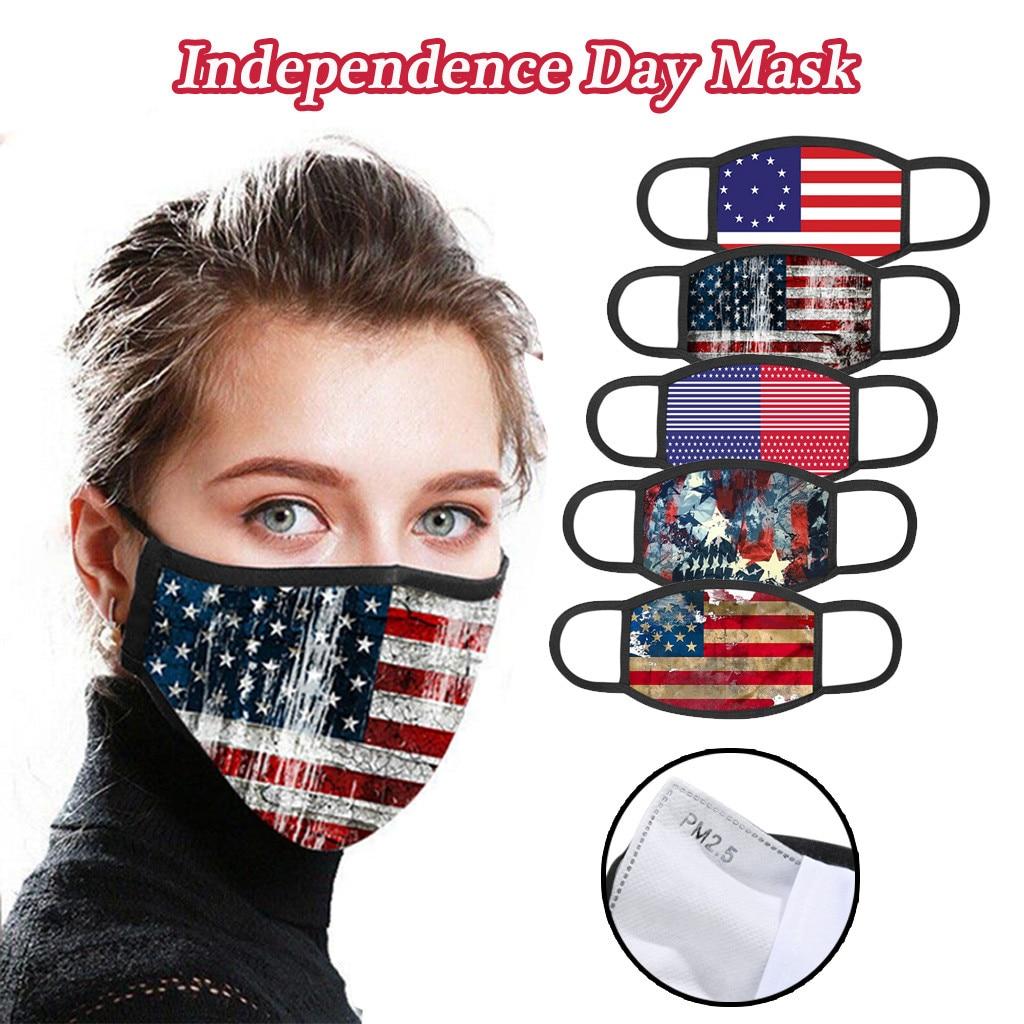 Flag Print Face Mask Dustproof Masks Adult Cotton Protective Foggy Haze Windproof Mouth Mask Washable Reusable Mouth Face Mask